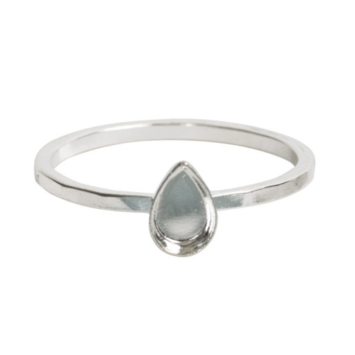 Ring Hammered Thin Bitsy Drop Size 7<br>Sterling Silver Plate 1