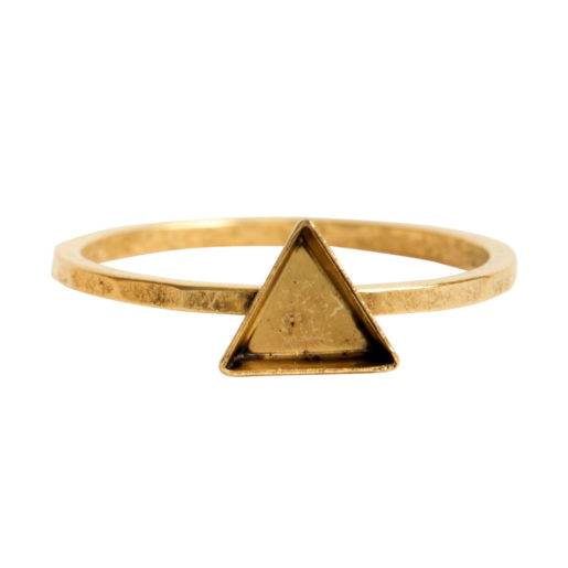 Ring Hammered Thin Bitsy Triangle Size 7<br>Antique Gold 1