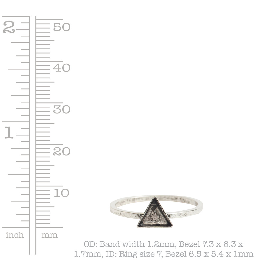 Ring Hammered Thin Bitsy Triangle Size 7Antique Silver