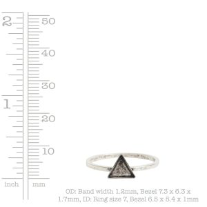 Ring Hammered Thin Bitsy Triangle Size 7<br>Sterling Silver Plate