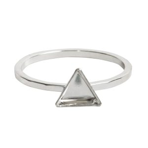 Ring Hammered Thin Bitsy Triangle Size 7Sterling Silver Plate