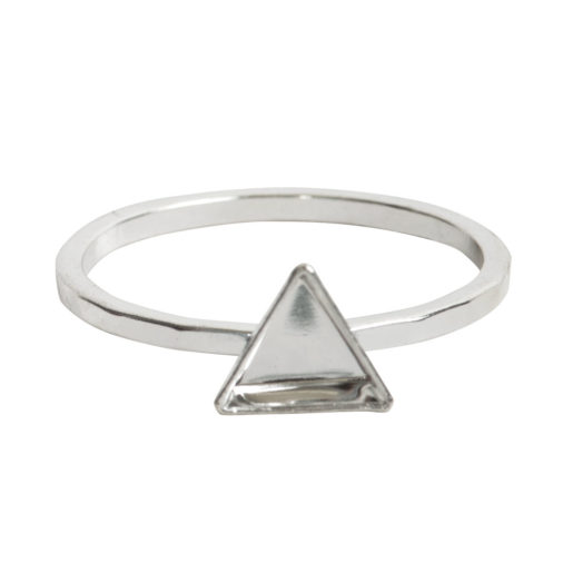 Ring Hammered Thin Bitsy Triangle Size 7<br>Sterling Silver Plate 1