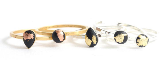 Bitsy Rings with Crystal Clay and Gilding Flakes