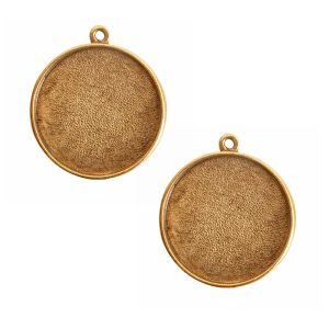 Buy & Try Findings Grande Pendant Circle Single LoopAntique Gold