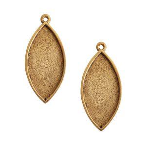 Buy & Try Findings Grande Pendant Navette Single LoopAntique Gold