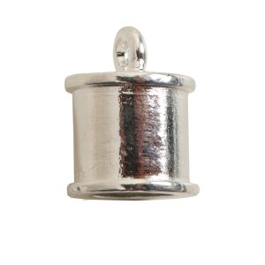 End Cap Channel 7mm Single LoopSterling Silver Plate