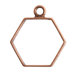 Open Frame Small Hexagon Single LoopAnitque Copper