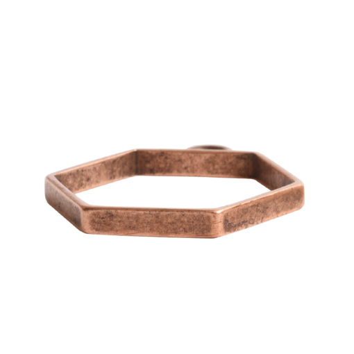 Open Frame Small Hexagon Single LoopAnitque Copper