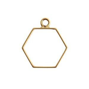 Open Frame Small Hexagon Single LoopAnitque Gold