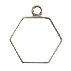 Open Frame Small Hexagon Single LoopAnitque Silver