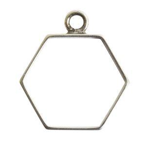 Open Frame Small Hexagon Single LoopAnitque Silver