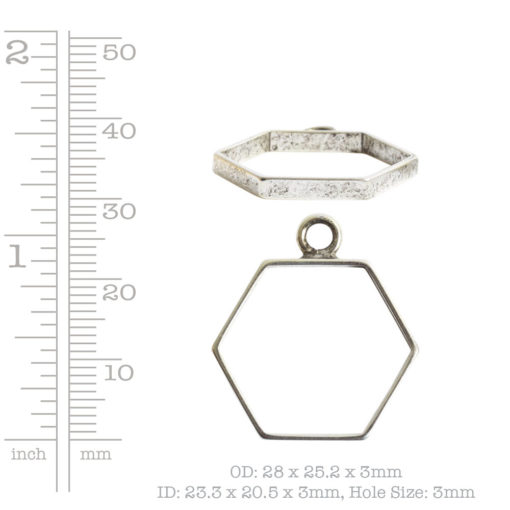 Open Frame Small Hexagon Single LoopAnitque Gold