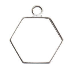 Open Frame Small Hexagon Single LoopSterling Silver plate