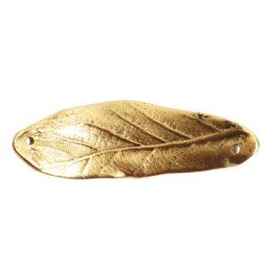 Bracelet Link Large Leaf Double HoleAntique Gold