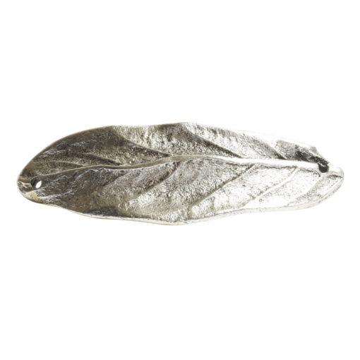 Bracelet Link Large Leaf Double HoleAntique Silver
