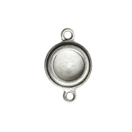 Classic Deep Pendant Itsy Circle Double LoopAntique Silver