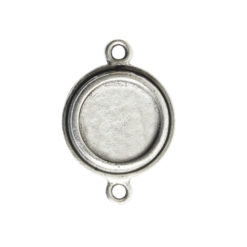 Classic Deep Pendant Mini Circle Double LoopAntique Silver