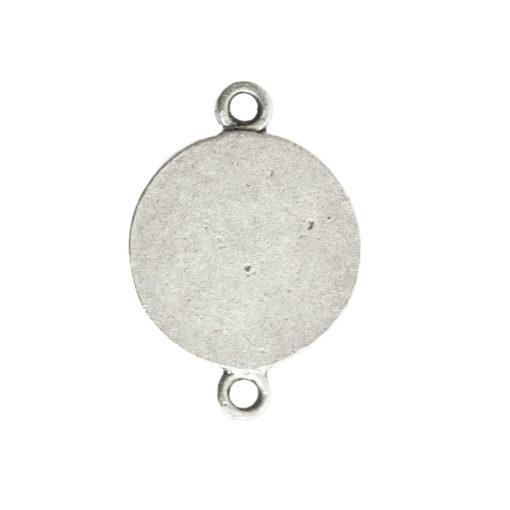 Classic Deep Pendant Mini Circle Double LoopAntique Silver