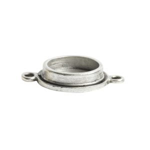 Classic Deep Pendant Mini Circle Double Loop<br>Antique Silver