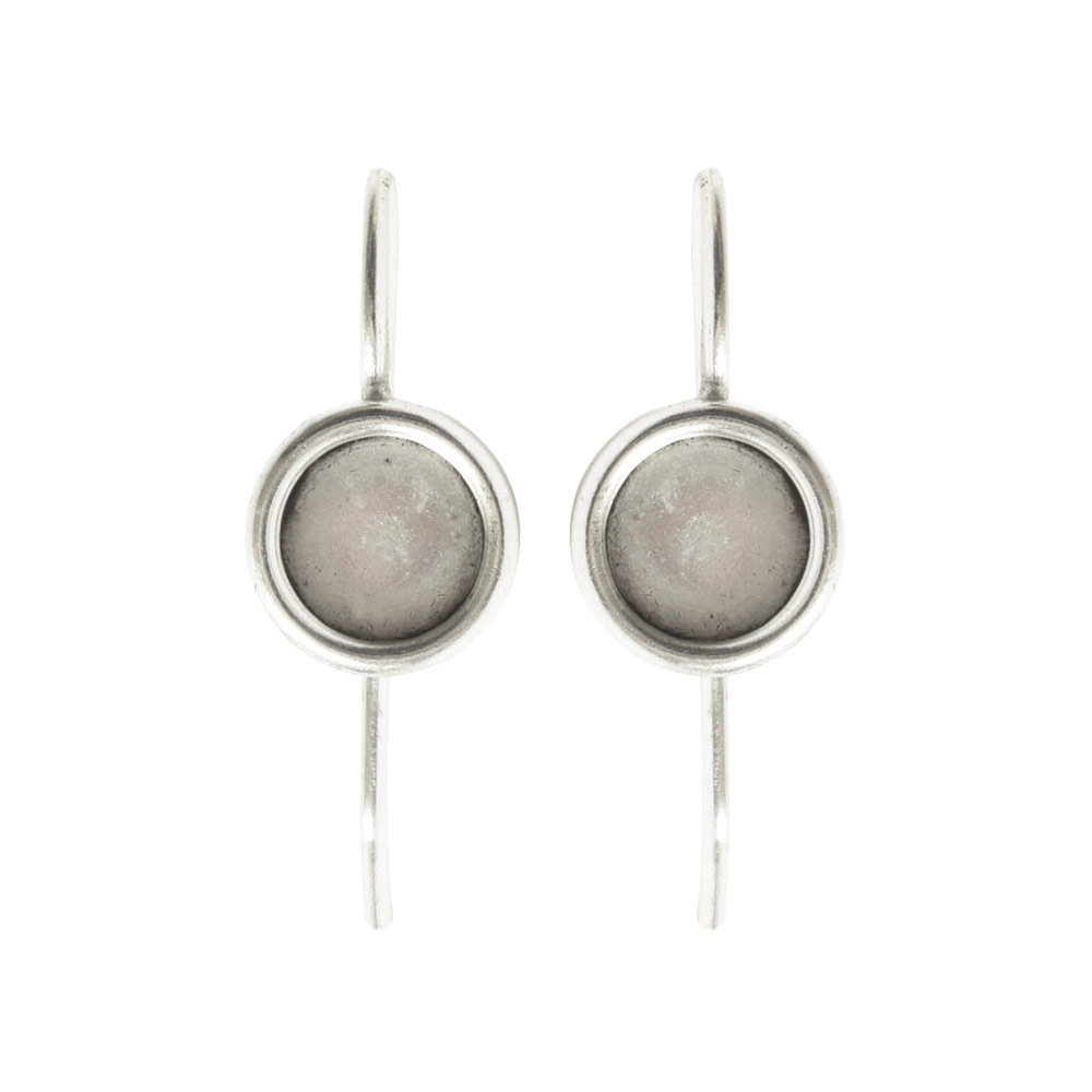 Earring Wire 6mm CircleAntique Silver