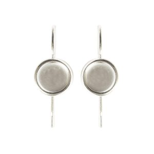Earring Wire 6mm Circle<br>Sterling Silver Plate