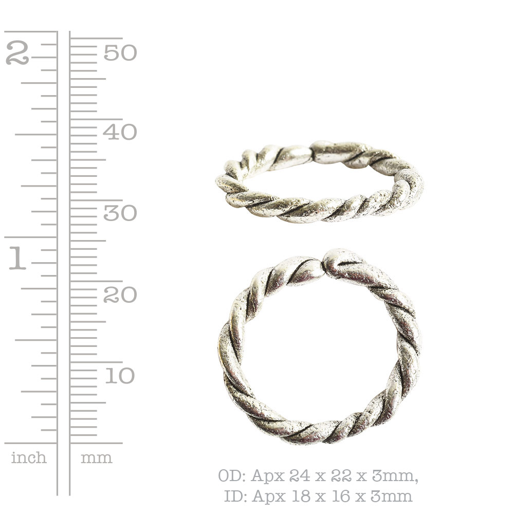 Hoop Twisted LargeAntique Silver