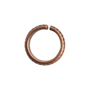 Jumpring 10mm Hammered Edge CircleAntique Copper