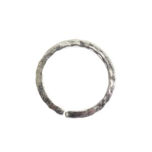 Jumpring 12mm Square Wire Hammered CircleSterling Silver Plate