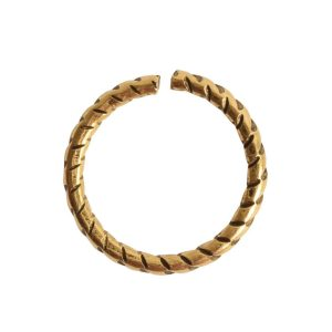 Jumpring 12mm Textured CircleAntique Gold