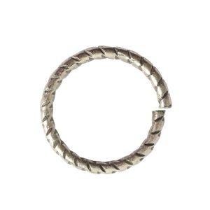 Jumpring 12mm Textured CircleAntique Silver