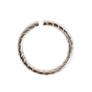Jumpring 12mm Textured CircleSterling Silver Plate