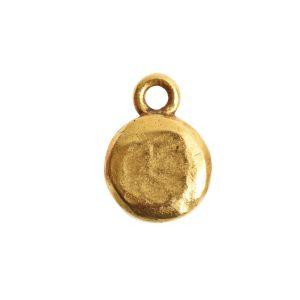 Organic Bezel Mini Circle Single Loop<br>Antique Gold