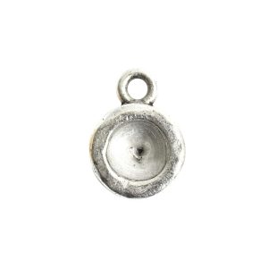 Organic Bezel Mini Circle Single LoopAntique Silver