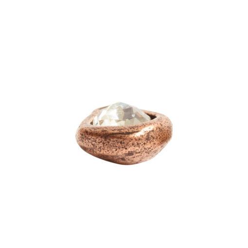 Organic Bezel Mini Drop Single LoopAntique Copper