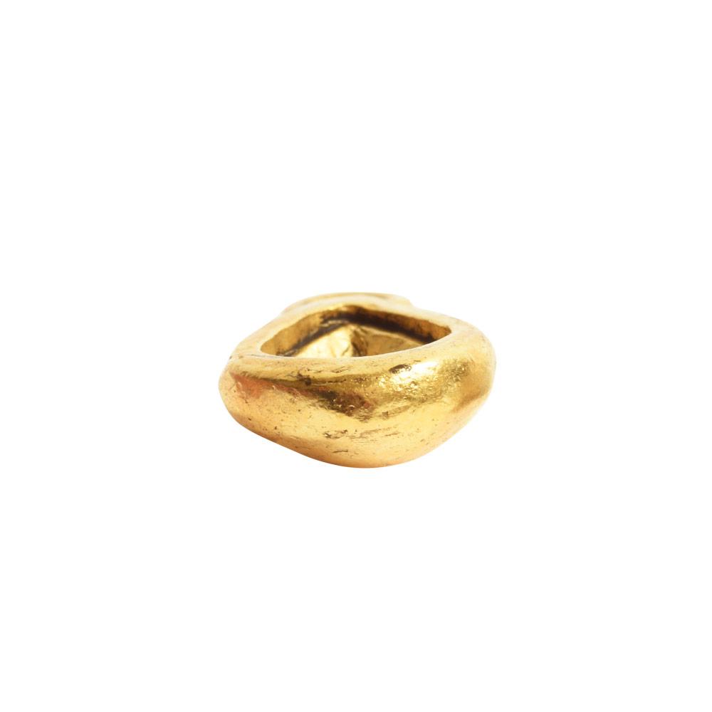 Organic Bezel Mini Drop Single LoopAntique Gold