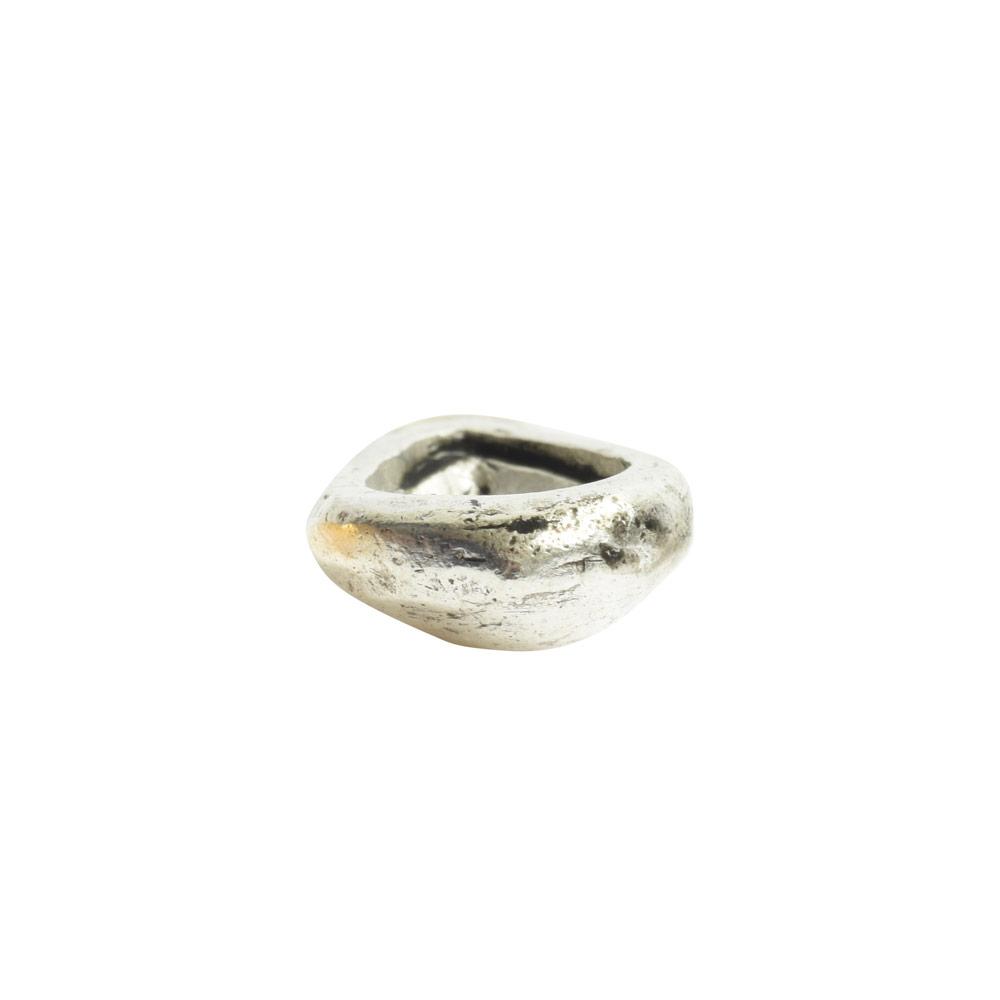 Organic Bezel Mini Drop Single LoopAntique Silver