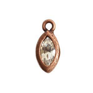 Organic Bezel Mini Navette Single LoopAntique Copper