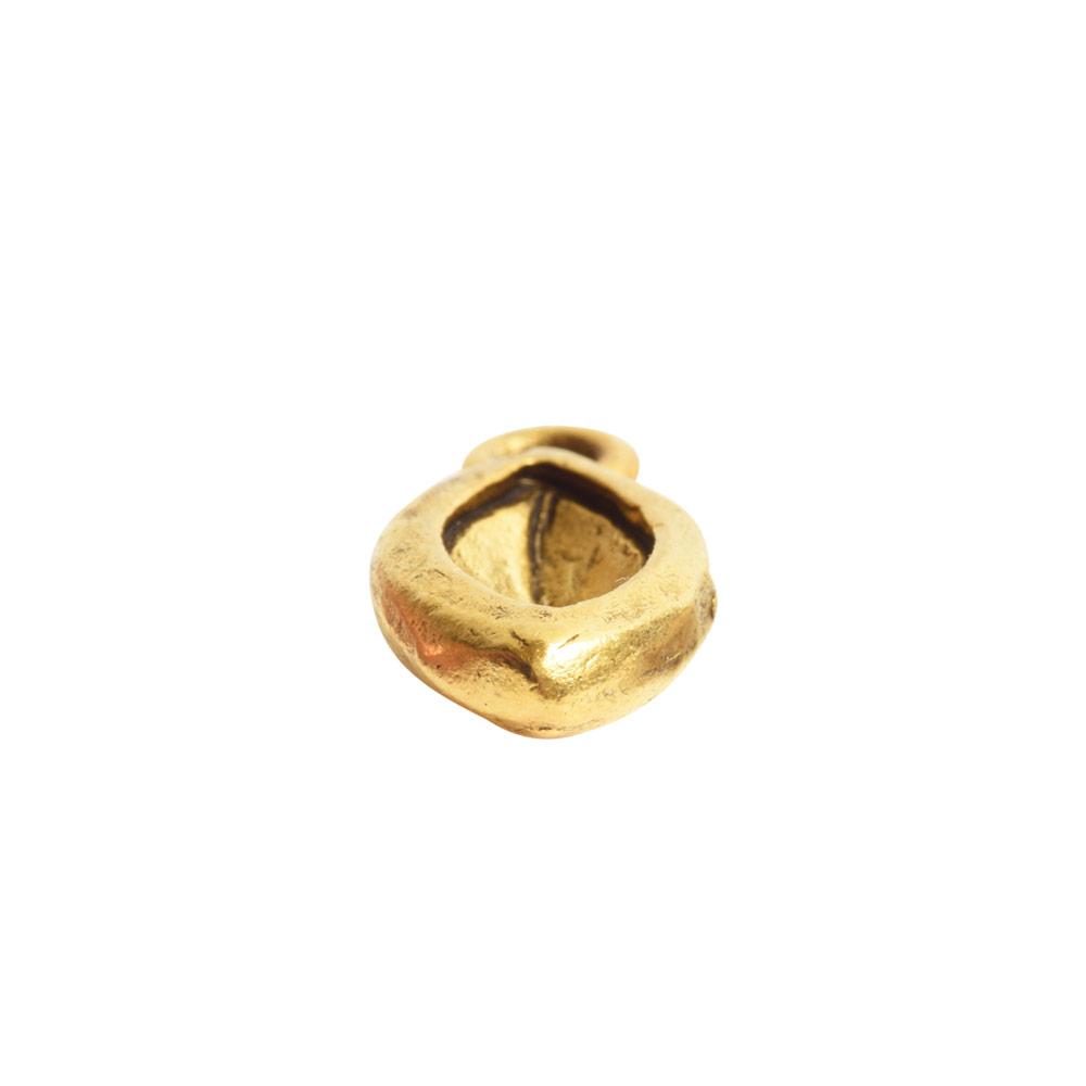 Organic Bezel Mini Navette Single LoopAntique Gold