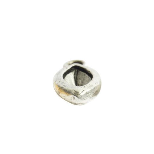 Organic Bezel Mini Navette Single LoopAntique Silver
