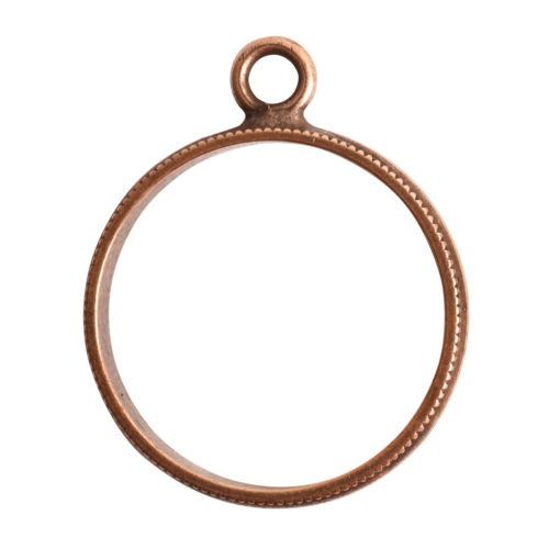 Open Pendant Beaded Large Circle Single LoopAntique Copper