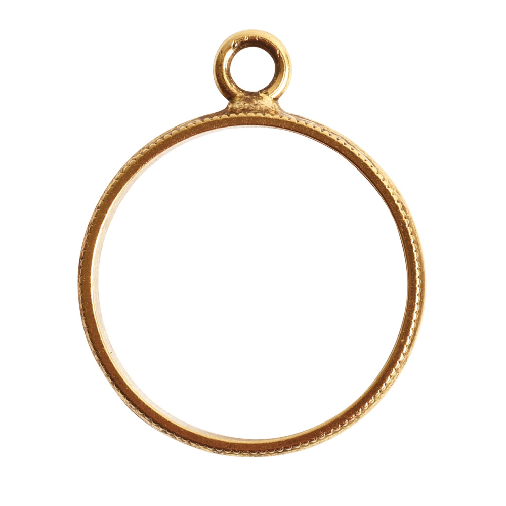 Open Pendant Beaded Large Circle Single LoopAntique Gold