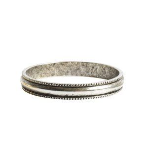 Open Pendant Beaded Large Circle Single LoopAntique Silver
