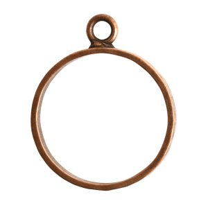 Open Pendant Hammered Large Circle Single LoopAntique Copper