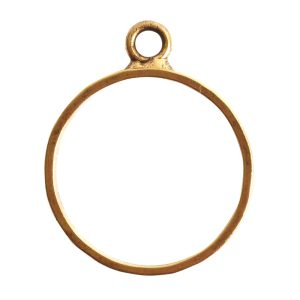 Open Pendant Hammered Large Circle Single LoopAntique Gold