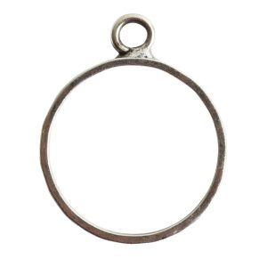 Open Pendant Hammered Large Circle Single LoopAntique Silver