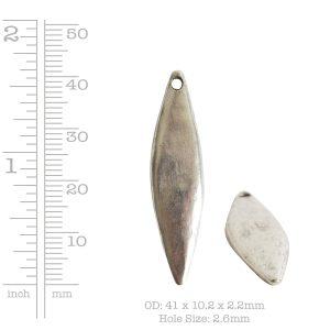 Primitive Tag Elongated Diamond Single Hole<br>Antique Copper