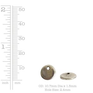 Primitive Tag Mini Circle Single Hole<br>Antique Silver