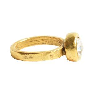 Ring Organic Bezel Mini Circle Size 7<br>Antique Gold