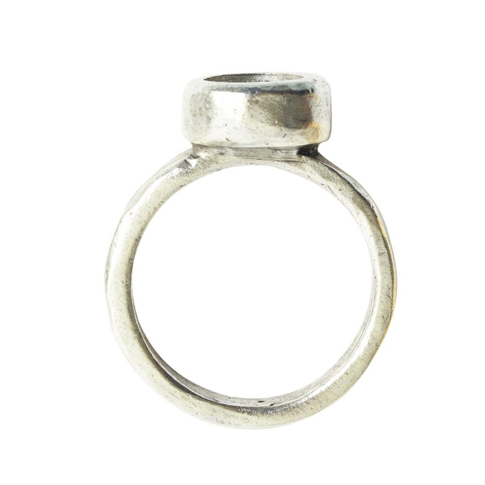 Ring Organic Bezel Mini Circle Size 7Antique Silver