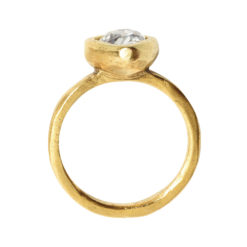 Ring Organic Bezel Mini Drop Size 7Antique Gold